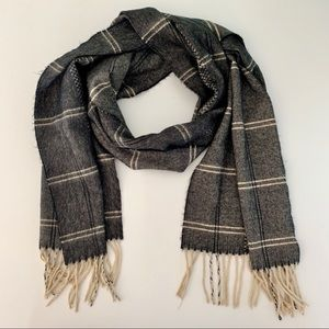 100% Cashmere Scarf | Black/ Tan Plaid